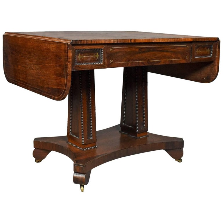 Antique Sofa Table Rosewood English Regency Pembroke Circa 1820