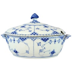 Large Royal Copenhagen Blue Fluted Full Lace Tureen Factory First #1109