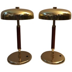 Very Rare Swedish Brass and Leather Table Lamps Small Model by Örsjö Industri Ab