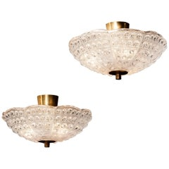 1960s, Crystal and Brass Ceiling Lights Pendants by Carl Fagerlund for Orrefors