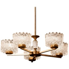 1960s Crystal and Brass Chandelier by Carl Fagerlund for Orrefors