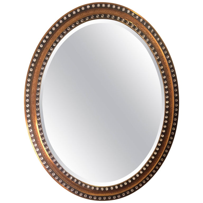 Glamorous English Regency Style Oval Mirror with Faceted Stones