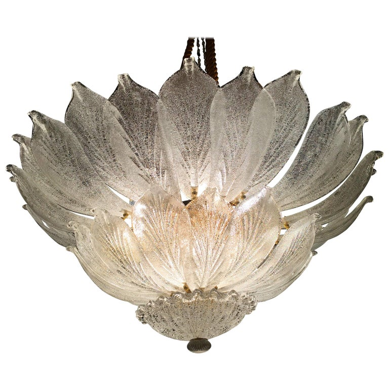 Italian Flush Mount Chandelier, Murano