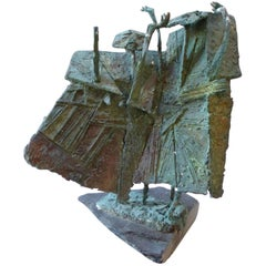 Modern Angular Abstract Bronze Figurative Sculpture on Slate