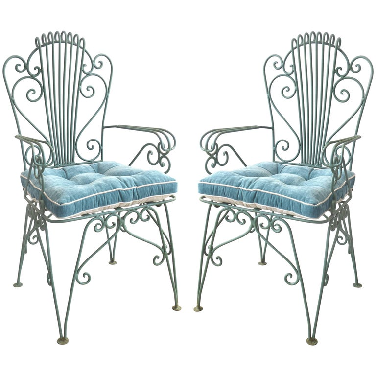 1940s Pair of Hollywood Regency Scrolled Iron Garden Chairs