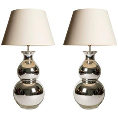 Pair of Large-Scale Silvered Double Gourd Table Lamps, circa 1960s