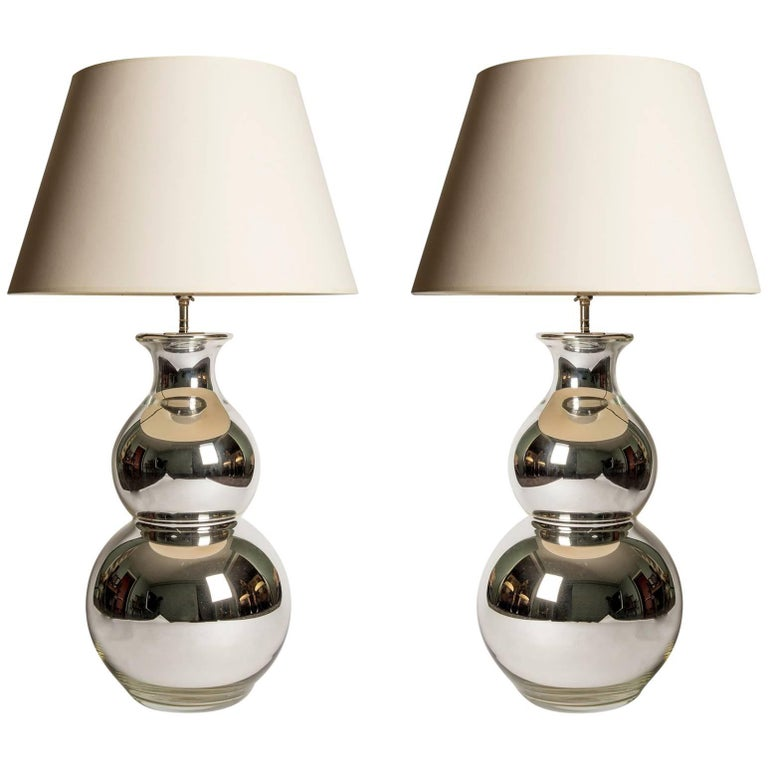 Pair Of Large Scale Silvered Double Gourd Table Lamps Circa 1960s