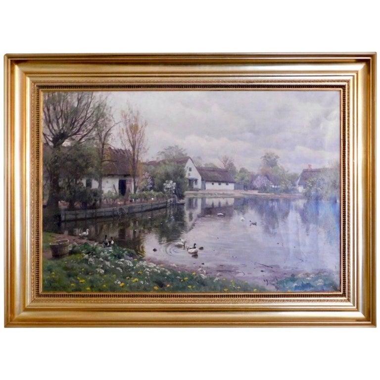 Peder Monsted, Village Pond in Herstedvester, Signed and Dated 1923 For Sale