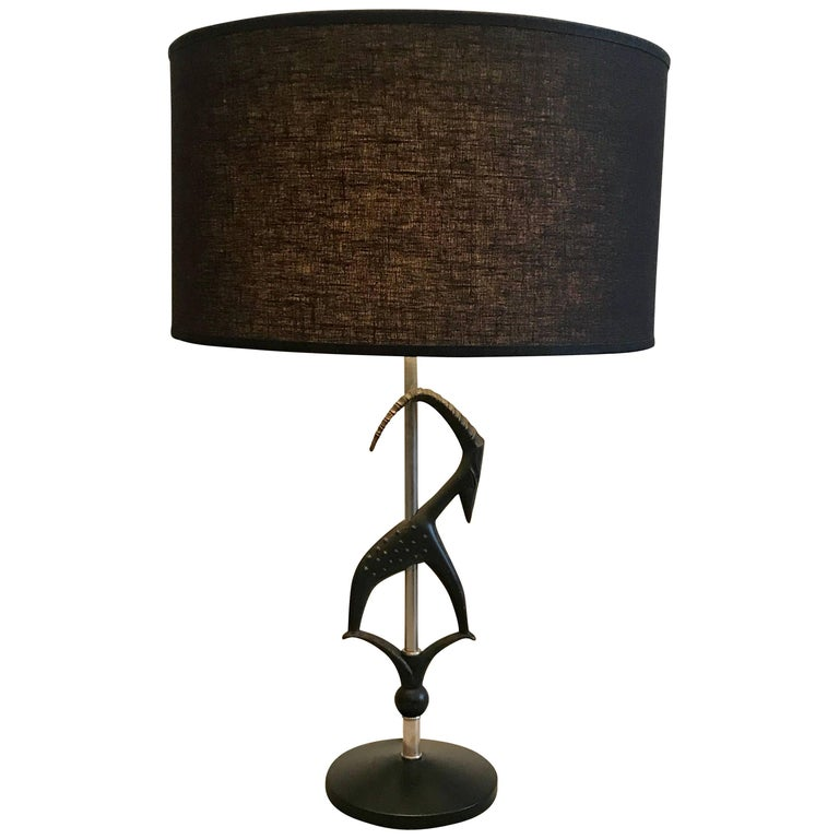 Mid-Century Modern Sculptured Gazelle Antelope Table Lamp by Rembrandt, 1950s