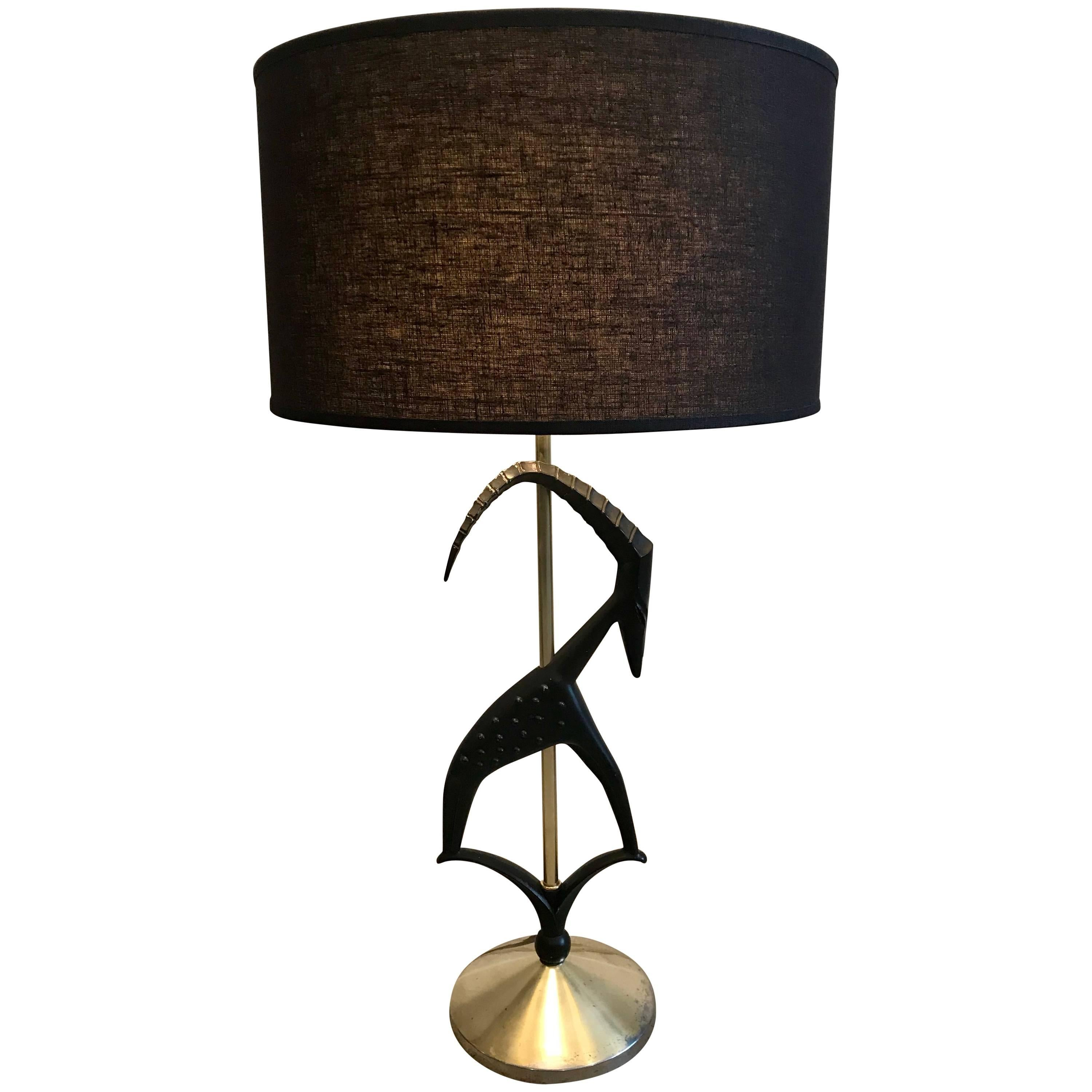 Captivating Mid Century Modern Sculptured Gazelle Antelope Table Lamp By Rembrandt,  1950s