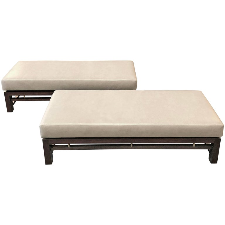 Dunbar Pair of Upholstered Benches Designed by Edward Wormley For Sale