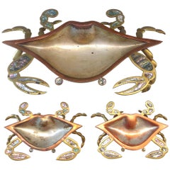Monumental Los Castillos Style Abalone Metal Crab Bowl with Two Side Dishes