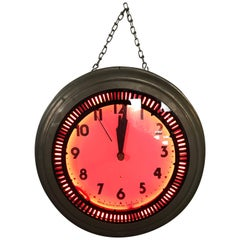 "1930s Art Deco ""Spinner"" Neon Clock, Pink Glow, Neon Clock Sales Chicago"