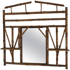 1940s Asian Style Bamboo Mirror or Shelf