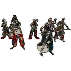 Set of Five Murano Glass and Sterling Silver Musical Clowns by Vittorio Angini