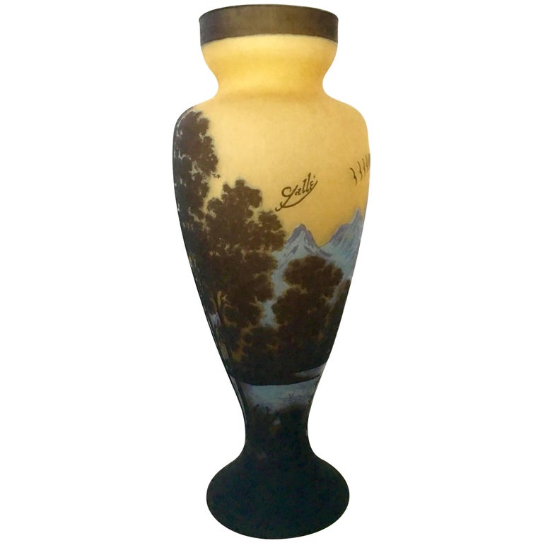 20th Century Art Nouveau Style Monumental Tip Galle Cameo Glass Vase