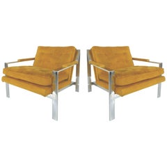 Pair of Mid-Century Modern Chrome Chairs By Cy Mann
