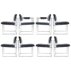 Milo Baughman Thayer Coggin Eight Chrome Dining Chairs