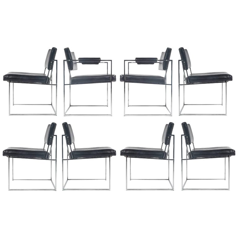 Milo Baughman Thayer Coggin Eight Chrome Dining Chairs
