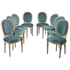 Late 19th Century Eight Chairs With Medallion Backrest in Louis XVI Style