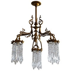 Early 20th Century Art Nouveau Bronze Crystal Chandelier