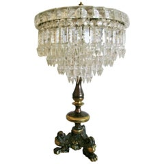 French Empire Style Crystal Three-Light Table Lamp Candelabra