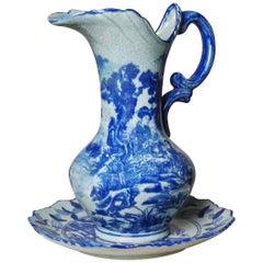 Großer Blau-Weißer Keramik Krug mit Untersetzer