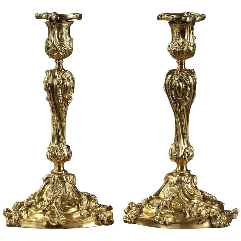 19th Century Pair of Gilt Bronze Candlesticks in Louis XV Style