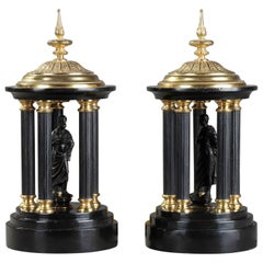Late 19th Century Antique Black Marble and Gilt Bronze Temples