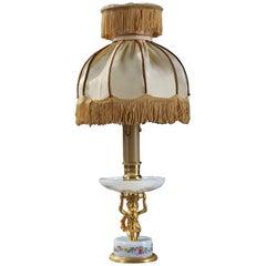 Late 19th Century Art Nouveau Opaline and Gilt Bronze Lamp