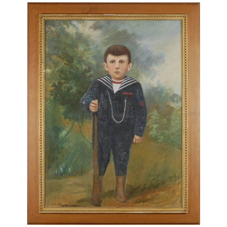 Large Naive Oil on Canvas of Boy Dressed as a Soldier For Sale