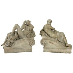 Late 19th Century, the Day and the Night, Plaster Group, circa 1880-1900