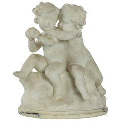 Guglielmo Pugi, Carrara Marble Sculpture, Two Cupids Contesting for a Heart