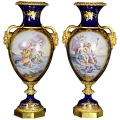 19th Century Porcelain Pair of Vases, Sèvres, France Scene after Lesueur