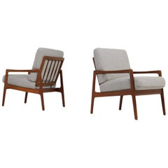 Pair of 1960s Danish Modern Teak Vintage Easy Chairs Mid-Century Modern