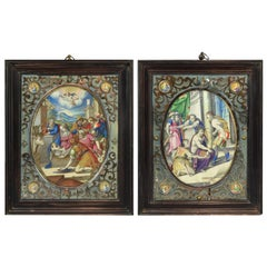 Pair of Miniatures on Vellum Frans Van De Kasteele, First Decade, 17th Century