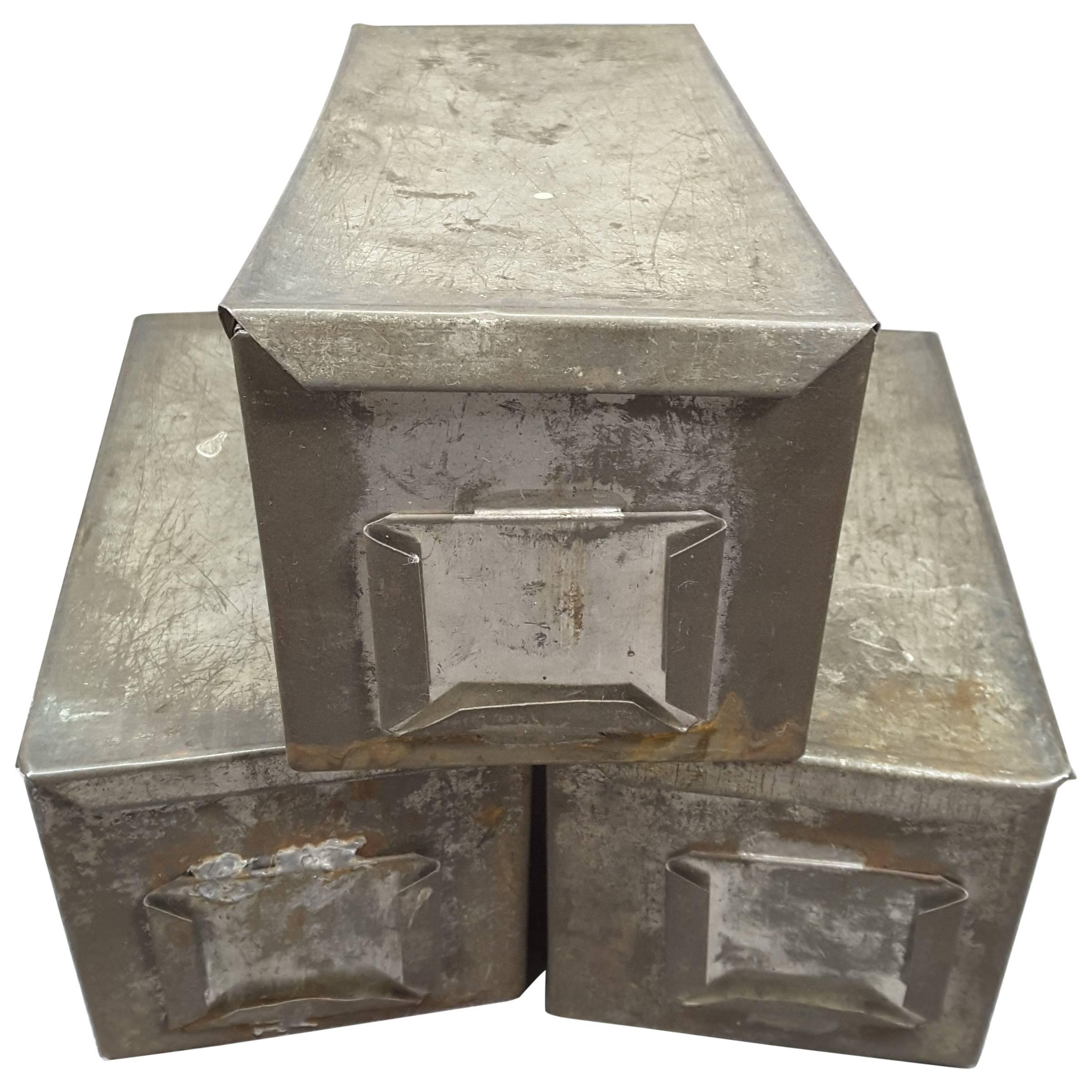 Industrial Vintage Handmade Tin Storage Boxes