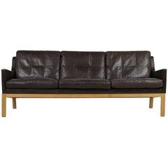1960s Kai Lyngfeldt Larsen Oak & Leather Lounge Sofa Dark Brown Soren Willadsen