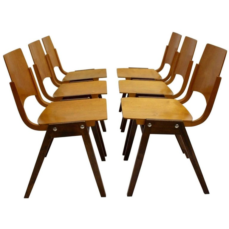 Mid Century Modern Chairs P7  by Roland Rainer Austria, 1952 Set of Six