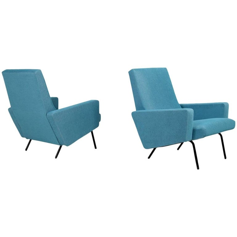 Pair of 1950s Lounge Chairs Joseph Andre Motte Attributed Mid-Century Modern For Sale