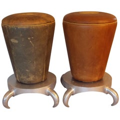 Leather Stools with Horned Bases
