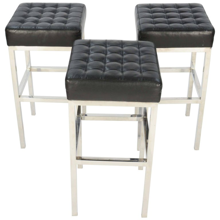 Trio Of Tuffed Chrome And Leather Stools After Ludwig Mies