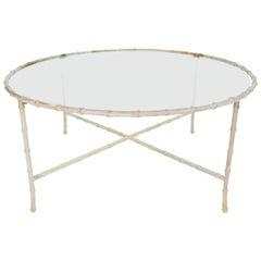Maison Bagues Solid Patinated Bronze Coffee Table with Bamboo Sculpted Motif