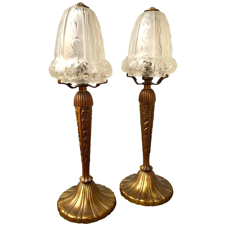 Pair Of Art Nouveau Bronze Table Lamps With Glass Shades For