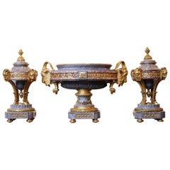 Fabulous 19th Century Fireplace Garniture, Turquin Marble by Lancelot, France