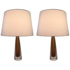 Pair of 1960 Swedish Kosta Art Glass Table Lamps