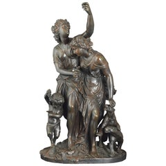 """Maenads with Satyr"" Bronze, 19th Century"