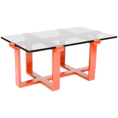 Elegant Burnt Orange and Smoked Glass Coffee Table after Paul Laszlo