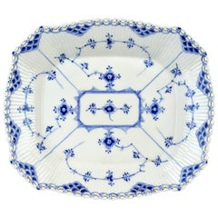 Royal Copenhagen Blue Fluted Full Lace Cake Plate, Factory First #1143