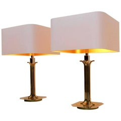 Amazing Pair of Belgian Brass Chrome Mid-Century Modern Table Lamps